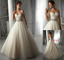 Stock White/Ivory Wedding Dress Bridal Gown Ball Deb Quinceanera Party Size 6-16
