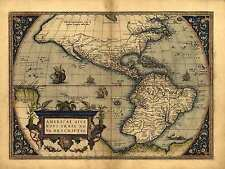 """Reproduction 19x13"""" Old Colour Reproduction Map of North South America Americas"""