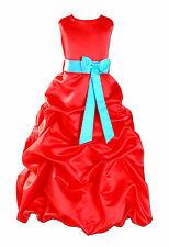 Nuevo Satén Rojo Fiesta Niña De Las Flores Vestidos Dama Honor 1-13 Año Banda 12
