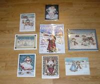 CHRISTMAS ANGELS SNOWMAN SANTA CLAUS FOLK ART HAND SIGNED ART PRINT COLLECTION