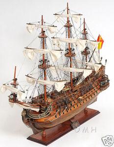 "1690 San Felipe Wooden Tall Ship Built Model 28"" Spanish Warship Galleon New"