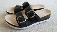Rialto Farina Platform Slide Sandal Black White Buckle Women's Size 10 M