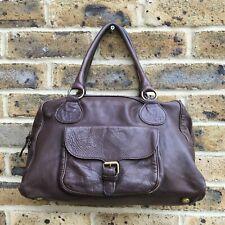 BODEN Shoulder Handbag Brown Leather Zip Closure Medium Bowler Underarm