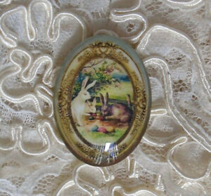 Vintage Easter Rabbits 30X40mm Glitter Unset Handmade Glass Art Bubble Cameo Cab