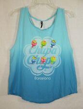 Chupa Chups Barcelon T-shirt Tank Top Blue Size Medium Cotton Sleeveless