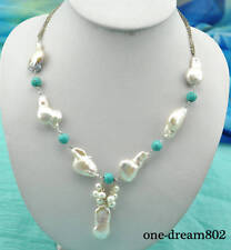 "18"" 28mm baroque white reborn keshi pearl 8mm round turquoise necklace pendant"