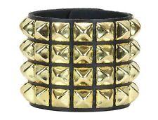 Gold Pyramid Stud 4 Row Leather Punk Rockers Bracelet Goth Emo Rockabilly