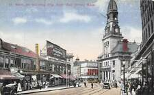 Main Street Scene City Hall Fall River Massachusetts 1910c postcard