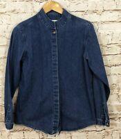 Orvis denim hidden button up shirt womens 10 mandarin collar long slv chore K7