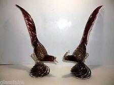 "Vintage SEGUSO MURANO Art Glass PHEASANTS Ruby Red GOLD AVENTURINE 13"" Set Of 2"