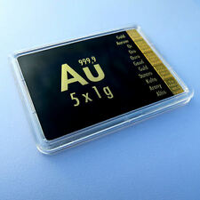 5 x 1 Gramm Gold 999,9 + ZERTIFIKAT ► 5g Goldbarren ► Anlage Geschenkidee