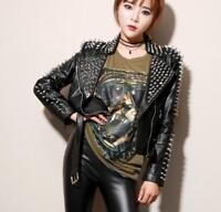 HOT Women Punk Spike Rivet Studded Shoulder Pattern PU Leather Jacket Coat New