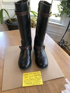 Cole Haan Nike Air (Girl's sz 2) Leather Riding Boots 'NANCY MOTOR' black brown