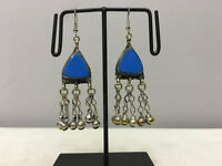 Middle Eastern Blue Glass Triangle Dangle Silver Charm Belly Dance Earrings E188