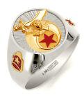 Customizable Solid Back Men's 0.925 Sterling Silver Masonic Shriner Ring