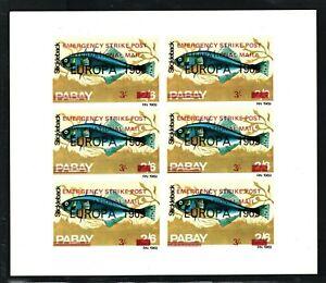 GB STRIKE POST 1971 PABAY Scots Islands Block{6} FISH 1969 Overprint UMM MA1082