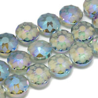 2 Strd Glass Bead Rainbow Electro Plated Faceted Flat Round Blue 14x10mm Loose