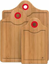 Vremi 3 Piece Bamboo Wooden Chopping Cutting Board Set w/ Red Handle Holes