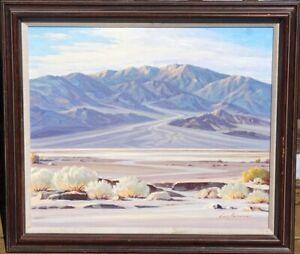 ORIGINAL VINTAGE 1940's 1950's CALIFORNIA SOUTHWESTERN DESERT LANDSCAPE PAINTING