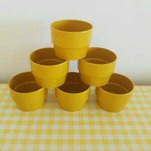 VINTAGE RETRO MUSTARD YELLOW STYLE CUPS CAMPING VW CAMPER PICNIC 60S 70S