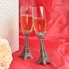 Eiffel Tower Toasting Flutes Paris Champagne Set of 2 France Wedding Theme