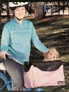 Solvit Tagalong Bicycle Seat Pet Dog Carrier Pink With Shade Water Bottle Holder