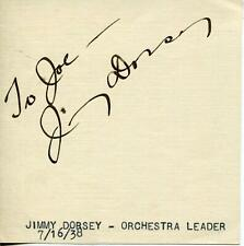 Jimmy Dorsey Autograph Big Band Leader Clarinetist Saxophonist Signed Page
