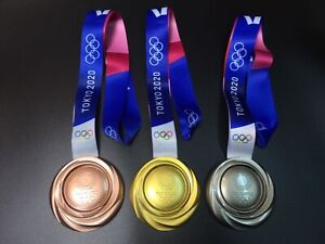 Tokyo 2020 Olympic Medals Gold Silver Bronze with Ribbons Full Set of 3