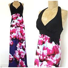 Watercolor Maxi Dress Size Medium Halter Top Long Floral Summer BOHO Beach