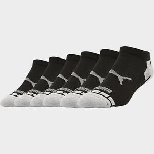 New Men's Puma Half Terry 6-Pack Low-Cut Socks Black/Grey - P112479B 004