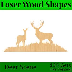Deer Scene Laser Cut Out Wood Shape Craft Supply - Woodcraft Cutout
