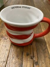 Universal Studios Dr. Seuss Cat in the Hat Coffee Soup Tea Mug Red White Stripes
