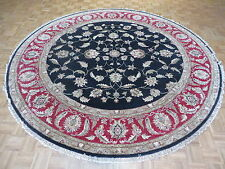 9'8 X 9'8 Round Hand Knotted Black Fine Agra Oriental Rug Vegetable Dyes