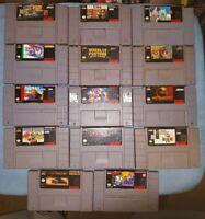 SNES Video Game Lot 14 Games Authentic Original Madden Vortex Mortal Kombat More