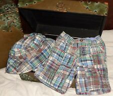 The Children's Place Brown Blue Red Madras Plaid Shorts and Hat 18 months 12-18
