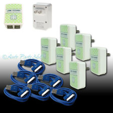 6X 4 USB PORT WALL ADAPTER+3FT CABLE POWER CHARGER BLUE FOR IPHONE 4S IPOD IPAD