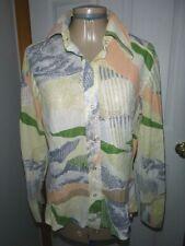 Vtg 70s Womens Lady Arrow Sheer Abstract Disco Shirt Top Blouse Size M/L Nylon