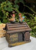 Miniature Dollhouse FAIRY GARDEN ~ Mini Resin Chicken Coop Hut w Rooster & Hen