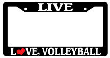 Black License Plate Frame Live Love Volleyball Auto Accessory Novelty