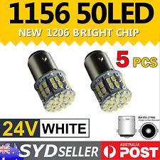 5x 24V 50-LED BA15S 1156 White Globe Light Truck Trailer Reverse Tail Stop Lamp