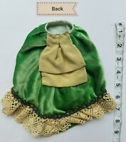 A13 Vintage Doll Skirt Green Velvet Bustle Lace Frilly Clothes Costume