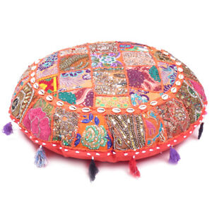 """Orange Round Patchwork Floor Throw Cover Embroidered Meditation Cushion Cover28"""""""