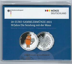20 Euro Silber Gedenkmünze 2021, Sendung mit der Maus, spiegelglanz, PP