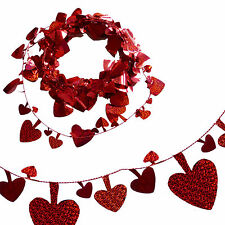 Red 7.5 Metre Holographic Shiny Heart Foil Garland - Valentine's Day Fun