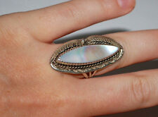 NATIVE AMERICAN MOTHER OF PEARL MARQUISE STERLING 925 ORNATE LADY RING SZ 5 3/4