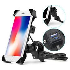 Motorcycle ATV Cell Phone GPS Handlebar Mirror Mount Holder USB Charger 360°