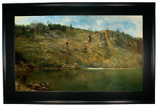 Martin The Iron Mine, Port Henry, New York 1862-Black Framed Canvas Print Repro
