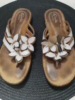 Clarks Artisan Womens Size 7 M Sandals Leather White Flowers