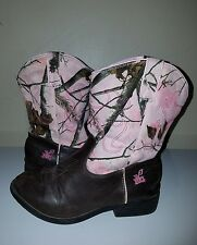 REALTREE APC PINK CAMOUFLAGE YOUTH COWGIRL BOOTS - GIRLS KIDS CAMO, COWBOY DUSTY