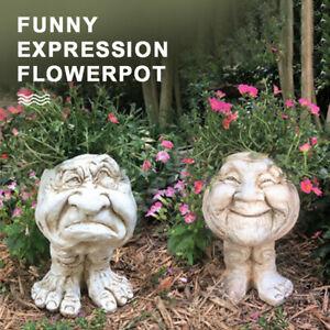Humorous Old Couple Muggly Face Planter Grandpa Grandma Statue Flower Pot Kit AU